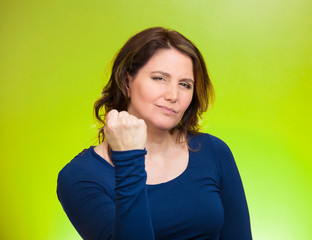 Woman worker, business employee showing fist, pissed off
