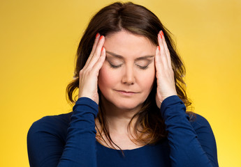Stressed woman having so many thoughts, overwhelmed