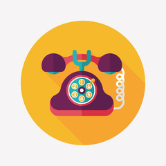 Retro telephone flat icon with long shadow,eps10