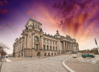 Beautiful wide angle view of Reichstag building in Berlin, Germa