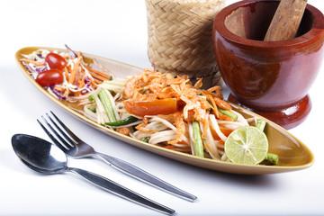 Thai Papaya salad topping with dry shrimp