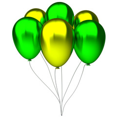 green and yellow birthday balloons