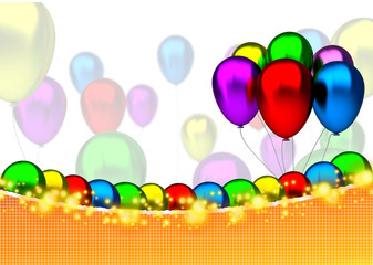 Birthday card with balloons, sparks and birthday text