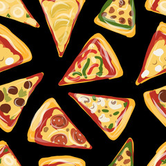 Pieces of pizza, seamless pattern for your design