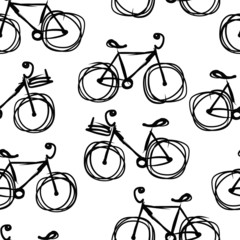 Bicycle sketch, seamless pattern for your design