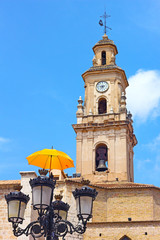 Clock and Bells Tower with umbrella decoration