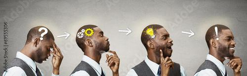 Emotional intelligence.Side Headshot thinking man found solution - 69555306