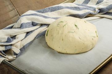 Artisan rosemary bread rising