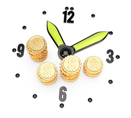 Clock face and coins