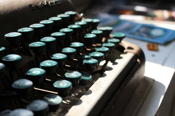 Typewriter with Teal Keys Macro