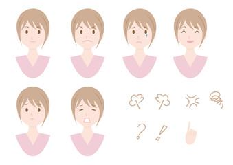 女性 表情 アイコン