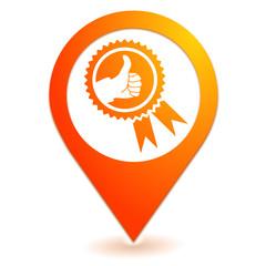 satisfaction médaille sur symbole localisation orange