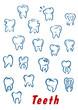 Teeth outline icons set