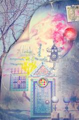 Fairytales house in the sunrise