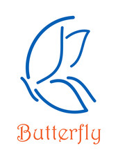 Butterfly icon or logo emblem