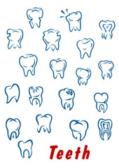 Teeth outline icons set
