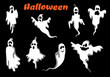Night halloween ghosts set