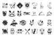 Food, restaurant and silverware icons set - 69557195
