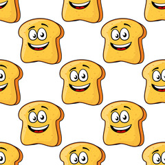 Seamless pattern of cartoon bread toast slices