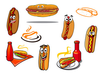 Hotdog cartoon characters and symbols