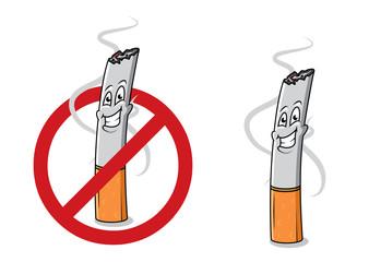 Cartoon happy cigarette butt