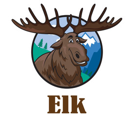 Cartoon moose or elk