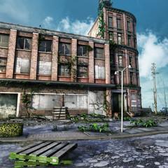 Plac zniszczonego i opuszczonego miasta