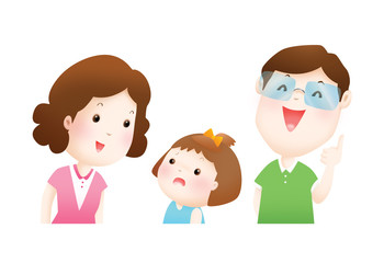 parents explain to their daughter illustration