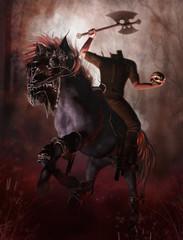 Jeździec bez głowy z czaszką i toporem na tle jesiennego lasu