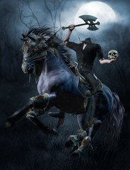 Upiorny jeździec bez głowy z toporem na tle księżyca