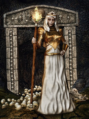 Czarodziejka z pochodnią stojąca przed bramą z czaszkami