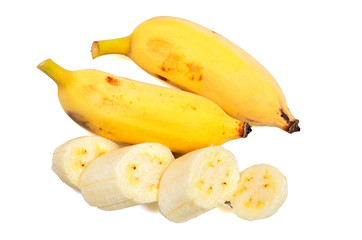 Ripe bananas isolated on white background
