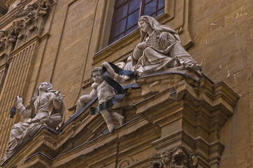 Artistic details on San Gaetano church in Florence, Tuscany