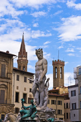 Neptune statue and fontain on Signoria square in Florence