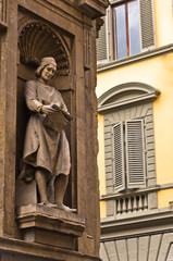 Artistic details on building of gallery Uffizi,Florence,Tuscany