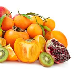 fresh fruit isolated on white