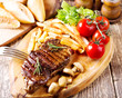 canvas print picture - grilled steak with vegetables