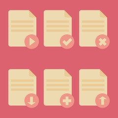 Flat icons UI - document icons in flat style