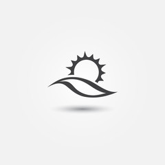 Sun and sea vector icon - sunset with sea wave symbol
