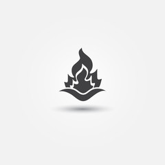 Fire icon - vector simple abstract fire flame symbol