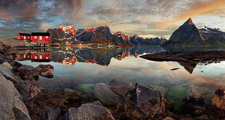 Norway village Reine with mountain, panorama