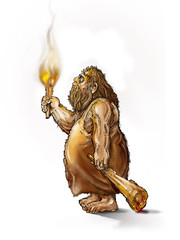 caveman with a torch and a club on a white background