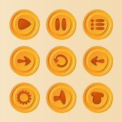 Game UI - vector set of buttons for mobile game or app
