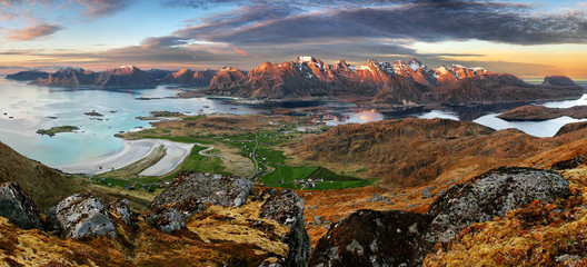 Dramatic sunset over Lofoten mountain