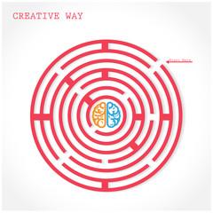Creative circle maze way concept