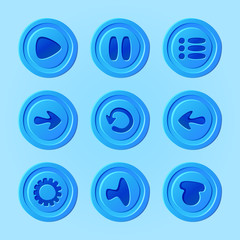 Game UI - vector set of buttons for mobile game or app elements