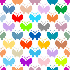 Butterfly multicolor silhouettes seamless pattern