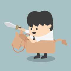 businessman riding the toy horse Fighting with swords