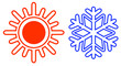 isolated sun and snowflake