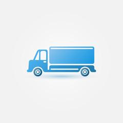 Blue vector car truck icon - transportation symbol